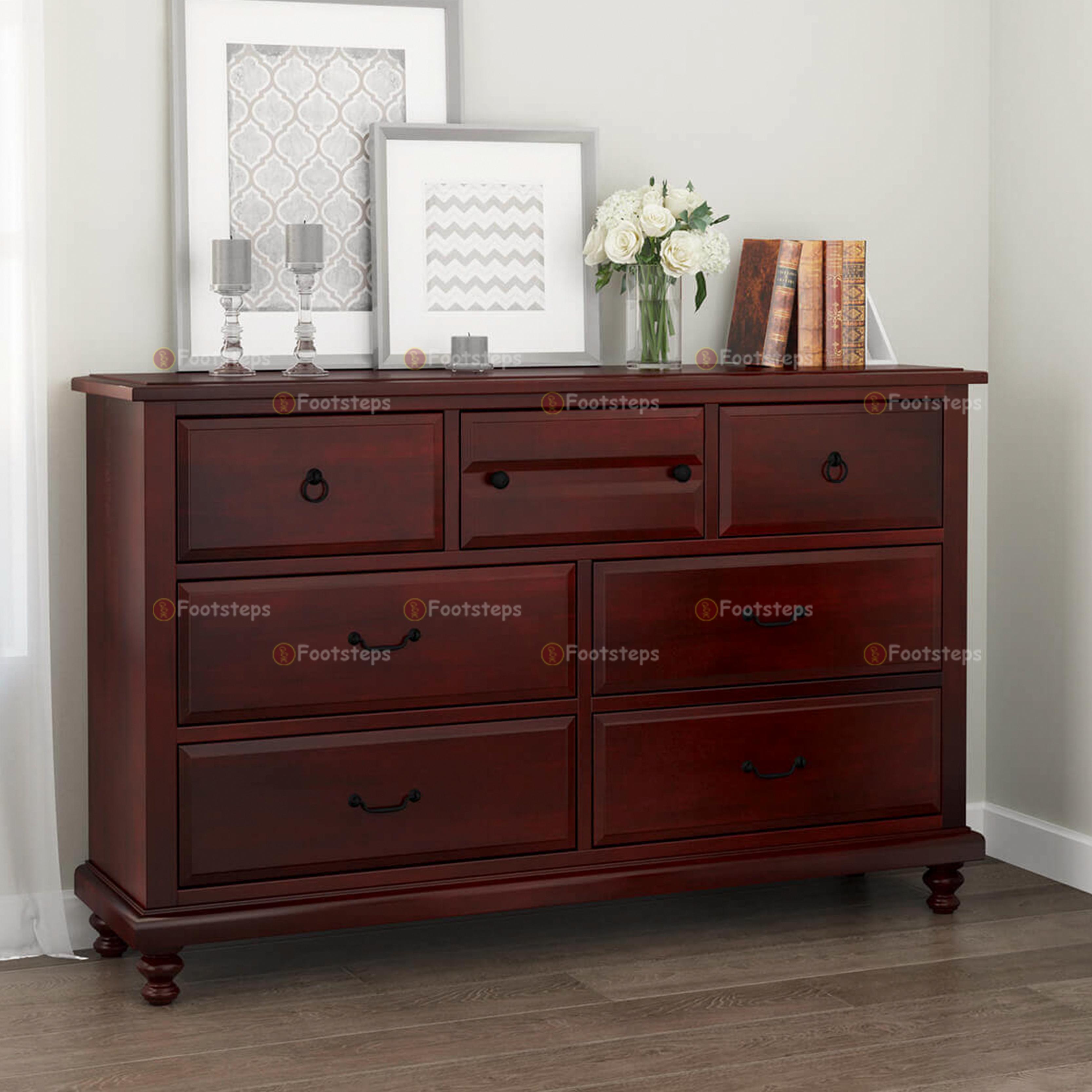 Iowa Traditional Style Mahogany Wood 7 Drawer Dresser 1