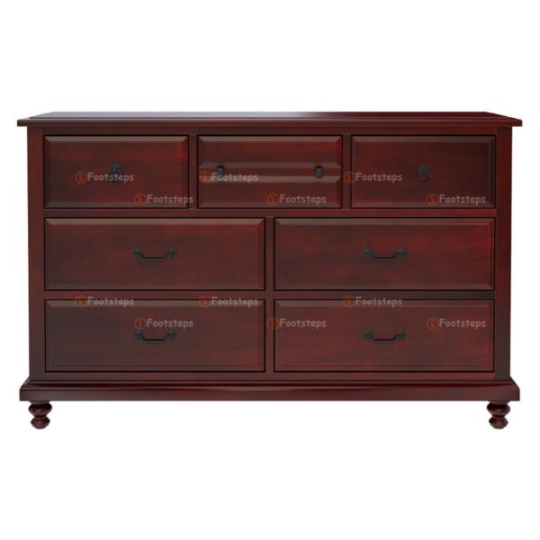 Iowa Traditional Style Mahogany Wood 7 Drawer Dresser 4