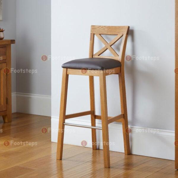 Java-Cross-Tall-Oak-Kitchen-Bar-Stool—Brown-Leather-Pad